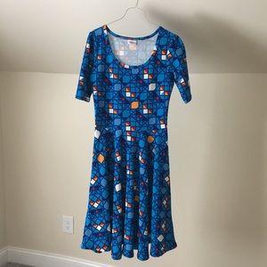 lularoe Amelia Royal Blue Geometric FitFlare Dress